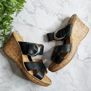 BOC Born Concept Black Cork Wedge Slide Sandals